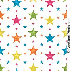 Colorful Starfishes, Summer Seamless Background