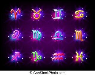 Colorful starry zodiac signs set. Horoscope. Aries, Taurus, Gemini, Cancer, Leo, Virgo, Libra, Scorpio, Sagittarius, Capricorn, Aquarius and Pisces. Vector illustration.