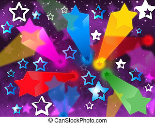 Colorful Stars Background Means Heavens Rays And Shining