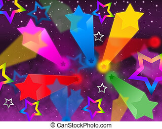 Colorful Stars Background Means Rainbow Space And Bright