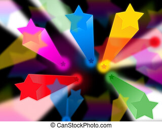 Colorful Stars Background Shows Beams Celestial And Heavens