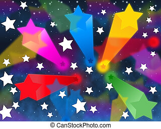 Colorful Stars Background Shows Shooting Space And Colors