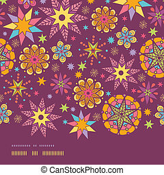 Colorful stars horizontal border seamless pattern background template