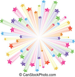 Vector illustration of colorful stars explode on white background