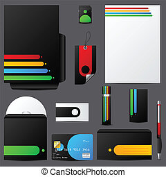 Colorful stationary set with cool vivid colors