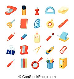 Colorful Stationery Icons Set