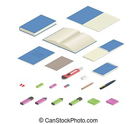 Colorful stationery supplies isometric set. Isometric set of office equipment. Flat vector illustration. Isolated on white background