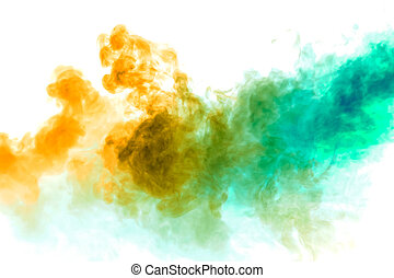 Colorful steam exhaled from the vape with a smooth transition of color molecules from yellow to blue on a white background like a collision of two jets of smoke.