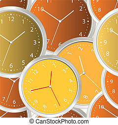 Colorful steel modern clock. seamless background
