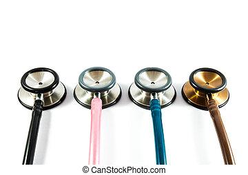 colorful stethoscopes line on white background (isolated)...