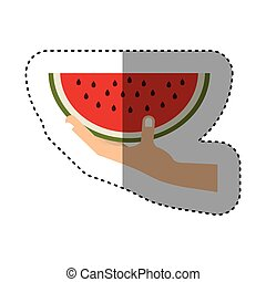 colorful sticker of hand holding watermelon fruit