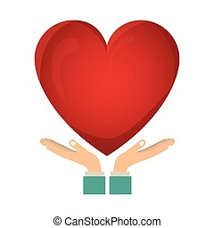 colorful sticker of hands holding a heart