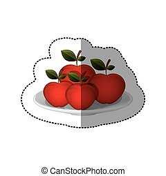 colorful sticker of set collection apples fruit