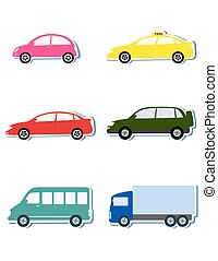 colorful sticker set with car icon