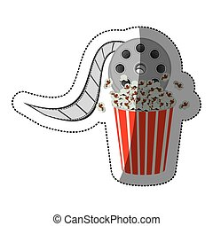 colorful sticker with cinematography movie video film tap and popcorn