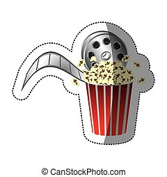 colorful sticker with movie film and popcorn with half shadow