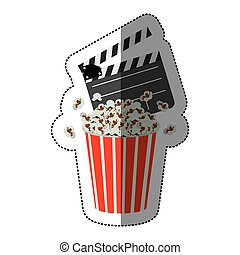 colorful sticker with popcorn container and clapper board