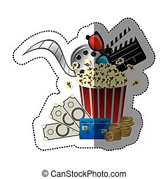 colorful sticker with popcorn cup with glasses 3D and clapper board and money and movie tickets in front