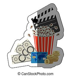 colorful sticker with popcorn cup with money and movie tickets
