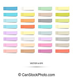 Colorful stickers. Vector illustration. Set of paper note stickers isolated on white. Post stick.