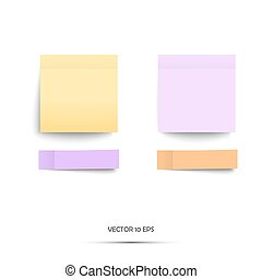 Colorful stickers. Vector illustration. Yellow and violet note stickers. Isolated on white.