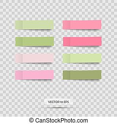 Colorful stickers. Vector. Set of pink and green post note sticky.