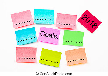 colorful sticky note paper with Goals 2018. - colorful...