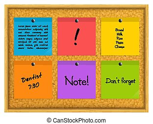 Colorful sticky notes pinned to a cork notice board with push pins. Vector.
