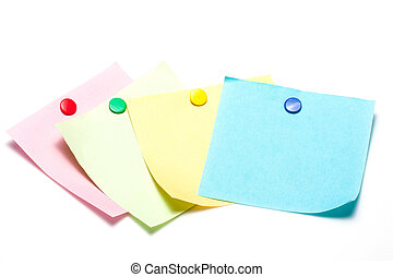 Colorful sticky notes with pushpin