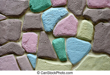 colorful stone block wall