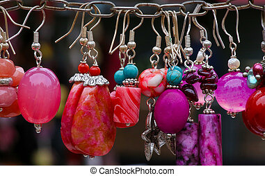Colorful Stone Earrings Pendants - Colorful stone and silver...