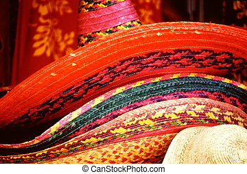 Colorful straw hats.