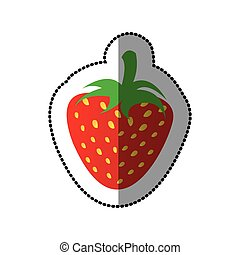 colorful strawberry fruit icon stock