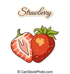 Colorful Strawberry Isolated On White