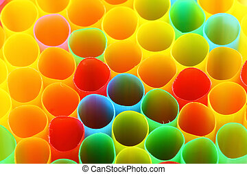 Colorful straws close up