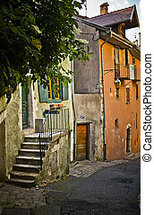 Colorful street in the City of Annecy