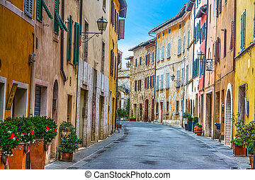 Colorful street in Tuscany