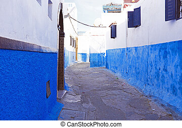 Colorful street of the Kasbah of the Udayas in Rabat, Morocco, Africa