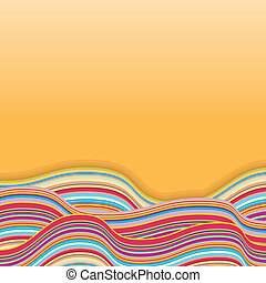 Colorful Stripe Waves. Retro Vector Background