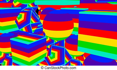 Colorful striped different shapes, cartoon style, 3d render...