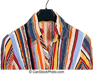 Colorful striped shirt on white background