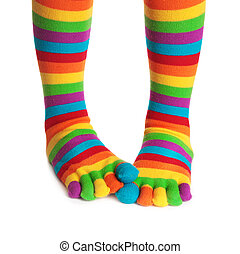 Colorful striped socks isolated on white background