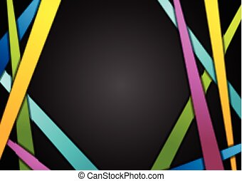 Colorful stripes on black abstract background