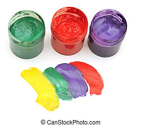 colorful stroke with opened paint buckets