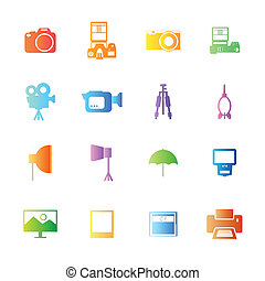 Colorful style Camera and accessory icons vector set.