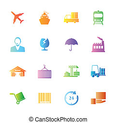 Colorful style Logistics icons vector set.
