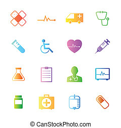 Colorful style Medical Icons vector set.