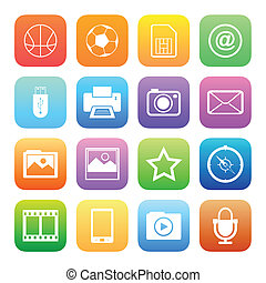 Colorful style mobile phone icons vector set.