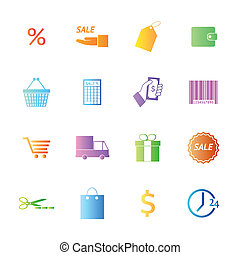 Colorful style Shopping icons vector set.