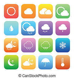 Colorful style weather icon vector set.